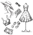 collection summer clothing and accessories vector image vector image