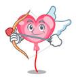 cupid ballon heart character cartoon vector image