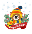 cute christmas card with tree braches and funny vector image vector image