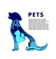 cute pet animals silhouettes paper art vector image vector image