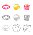 design of equipment and swimming logo set vector image