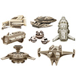 Different designs of spaceships vector image vector image