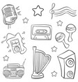 doodle music object various collection vector image vector image