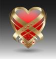 Elegant metallic heart embleme with embellishment vector image