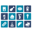 Flat fast food and drink icons vector image