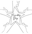 friendship day friend group hands star shape card vector image
