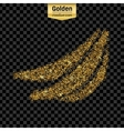Gold glitter icon of banana isolated on vector image