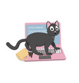 gray cat and a pink laptop with a screen of death vector image vector image