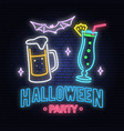 halloween party neon sign vector image vector image