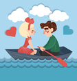 Happy Couple on the Boat Valentines Card vector image vector image