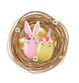happy easter cute egg rabbit ears and unicorn vector image