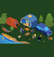 isometric trailer park people composition vector image vector image
