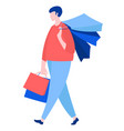 man walking with purchase buy paper bags summer vector image vector image