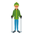 man with clothes snow hat and goggles sticks ski vector image vector image
