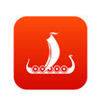 medieval boat icon digital red vector image vector image