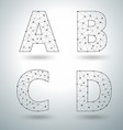 Mesh stylish alphabet letters vector image vector image