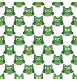 owl stylized art seemless pattern green white vector image vector image