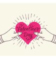 Pink heart in hands vector image vector image