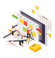 planning schedule isometric composition vector image