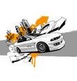 racing car graffiti abstract art vector image