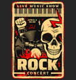 rock music festival concert poster vector image vector image