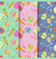 seamless pattern on colorful easter egg and carrot vector image vector image