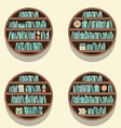 Set Of 4 Round Bookshelves On Wall vector image vector image
