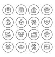 set round line icons of gift vector image