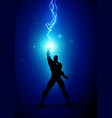 silhouette of man with energy lightning vector image vector image