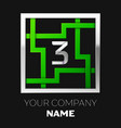 silver number three logo symbol in the square maze vector image vector image