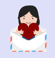 small girl with holding heart vector image