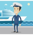 Smiling ship captain in uniform at the port vector image vector image