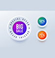 special offer big sale round labels vector image