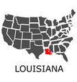 state louisiana on map usa vector image vector image