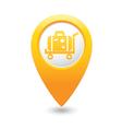 suitcase on wheelbarrow icon yellow map pointer vector image vector image