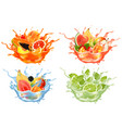 sweet exotic juice and water splash whole and vector image