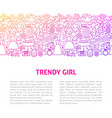 trendy girl line design template vector image vector image