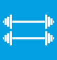 two barbells icon white vector image vector image