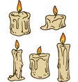 white waxy candle set vector image