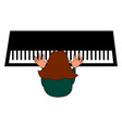 woman playing piano on white background vector image