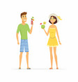 young couple on beach holiday - cartoon people vector image vector image