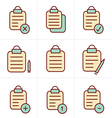 Icons Style isolated clipboard list icons set vector image