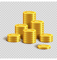 piles of shiny gold coins with dollar sign vector image