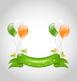 Irish balloons with clovers and ribbon vector image