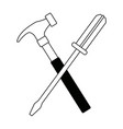 hammer and screwdriver crossed tools support vector image