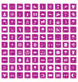 100 golf icons set grunge pink vector image vector image