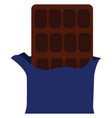 a dark chocolate partially unwrapped color vector image