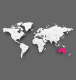 australia pink highlighted in map of world light vector image vector image