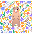 bear and flowers on white background vector image