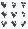 black and white icons grapes vector image vector image
